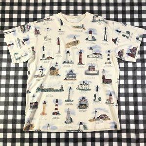 Lighthouse All Over Print Cream T shirt XL Tee